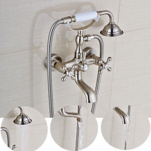 Wall Mount Clawfoot Brushed Nickel Bathroom Tub Faucet Hand Shower