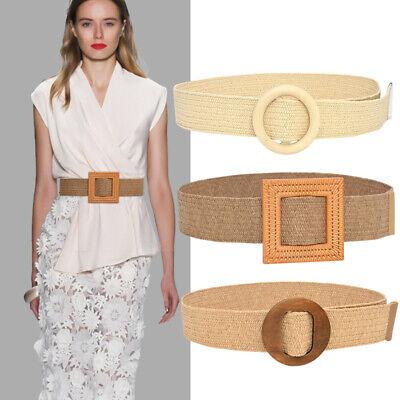 Adjustable Women/'s Straw Waistbband Buckle Waist Belts Dress Elegant Prom Wear