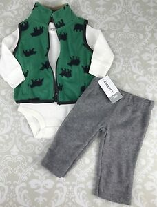 4a9bfa7a0bc1 NWT Baby Boy 3 Mo Outfit Set Carters 3 Piece Fleece Vest Thermal ...