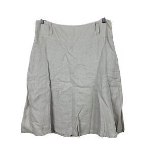 Jacqui-E-Womens-Linen-Skirt-Size-10-Grey-A-Line-Good-Condition
