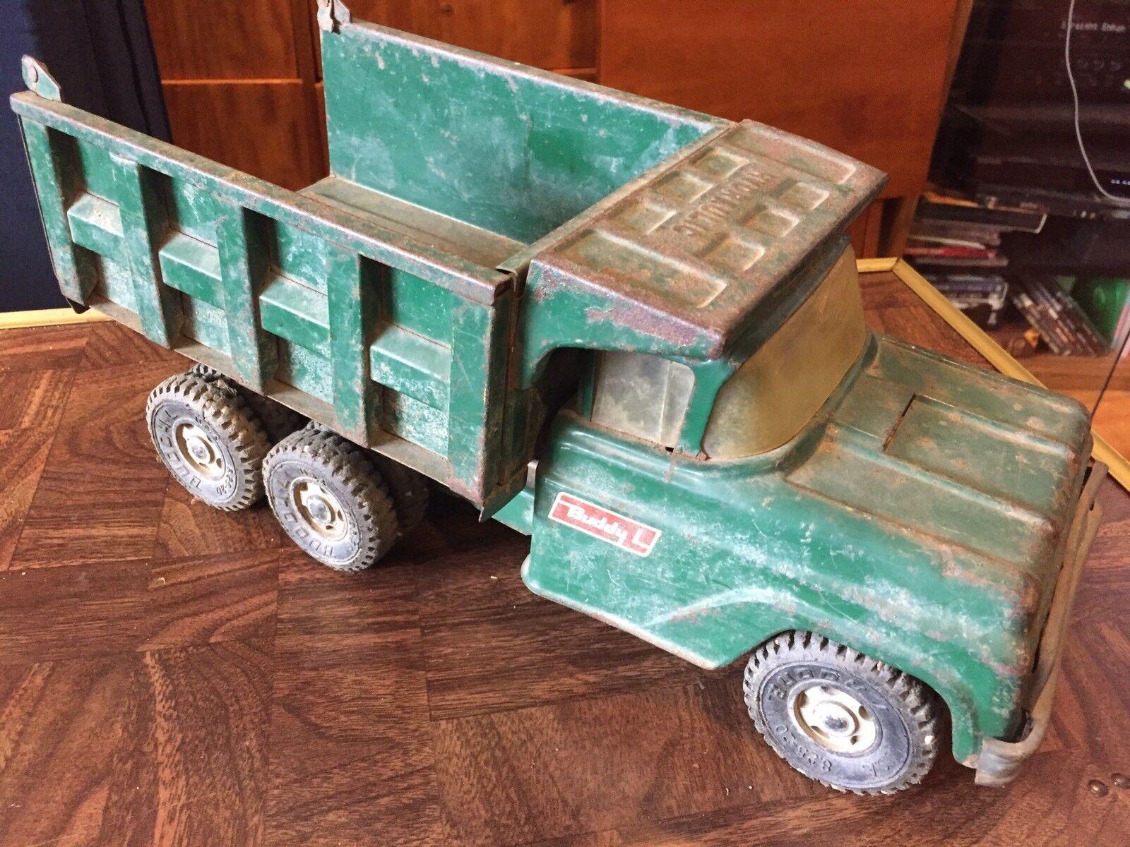 Buddy L Pressé Acier Essieu Tandem Hydraulique Camion benne-Vert-Fresh Barn Find