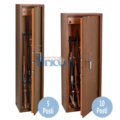 Armadio portafucili fuciliera blindata acciaio 5 10 posti con tesoretto legno   eBay