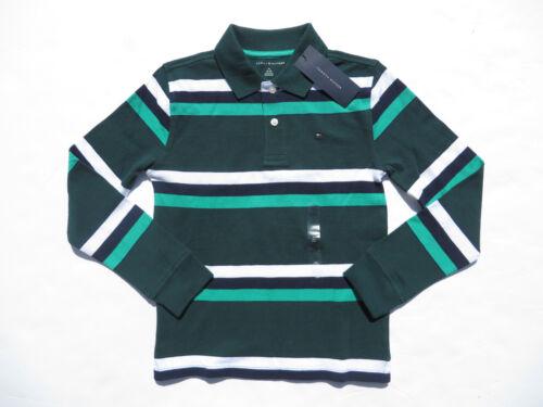 TOMMY HILFIGER Boys Polo Shirts Medium Large NEW Cotton Long Sleeve Stripes Polo