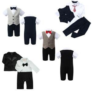 US Baby Boys Party Gentleman Clothes Romper Jumpsuit Bowtie Formal Suit Outfits