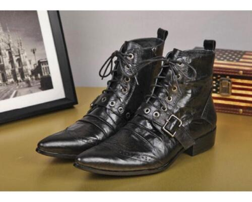 Men/'s Size 5-12 Genuine Leather Formal Dress Ankle Boots Pointy Toe Buckle Shoes