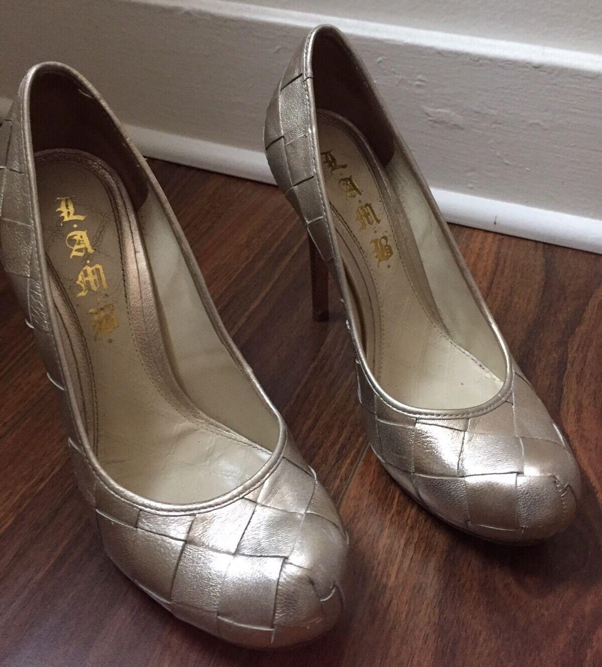Cordero By Gwen Gwen Gwen Stefani oro Metálico Clásico de Cuero Tejido Zapatos Tacones Talla 7.5M  Sin impuestos