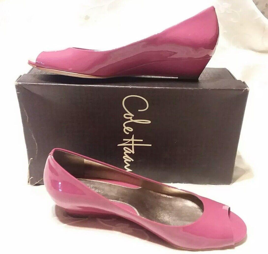 COLE HAAN AIR ELLY  Rose Chaud Peep Toe Ballet talon compensé femme Taille 7B excellent état utilisé
