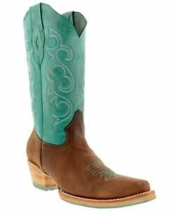 Women-039-s-New-Leather-Western-Cowgirl-Rodeo-Biker-Boots-Snip-Toe-Brown-Turquoise