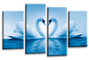 Kissing Swans Wall Art Blue Cream Grey Love Heart 4 Panel Canvas Picture