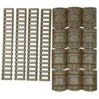 Tactical Rail Cover Set - 12 Pcs Snap On Covers - 4 Pcs 7 Ladder Covers - Tan