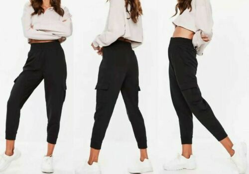 Plus Size Ladies cuffed bottom cargo trouser slim fit jogging gym pants UK 8-16