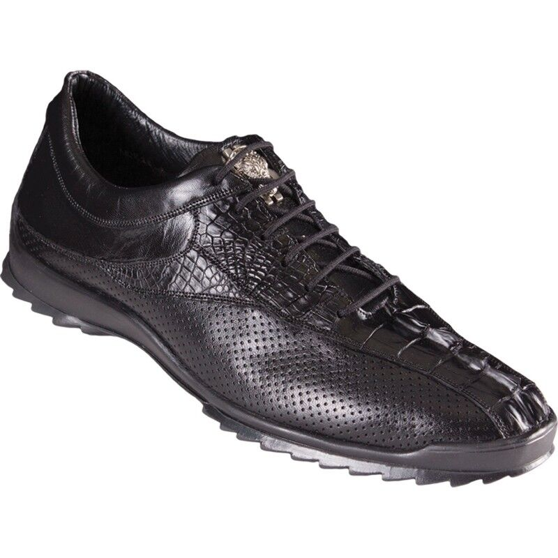 Los Altos Cola De Cocodrilo Negro Genuino Informal Zapatos Con Cordones Zapatillas Extra Ancho Hecho a Mano