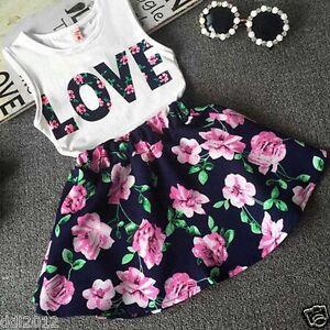 2PCS-Toddler-Kids-Baby-Girls-T-shirt-Tops-Skirt-Dress-Summer-Outfits-Set-Clothes