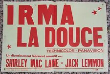 ANCIENNE AFFICHE CINEMA IRMA LA DOUCE SHERLEY MAC LAINE JACK LEMMON