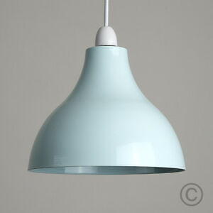 Modern industrial duck egg blue metal ceiling pendant light shade image is loading modern industrial duck egg blue metal ceiling pendant aloadofball Image collections