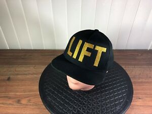 Cap-LIFT-Inc-Yupoong-With-Gold-TALL-Lettering-Mens-Black-Snapback-039-A-Frame-039-Hat