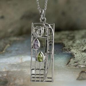 Charles-Rennie-Mackintosh-Silver-Pendant-Necklace-034-Lover-034-Amethyst-amp-Peridot