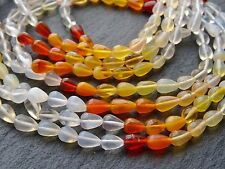 """HAND SHAPED MEXICAN FIRE OPAL BRIOLETTE BEADS, approx 4x7mm, 13.5"""", 50+ beads"""