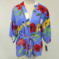 Jams World Short Kimono Robe Zinnias Print O/s (xl, 1x, 2x) Made In Usa