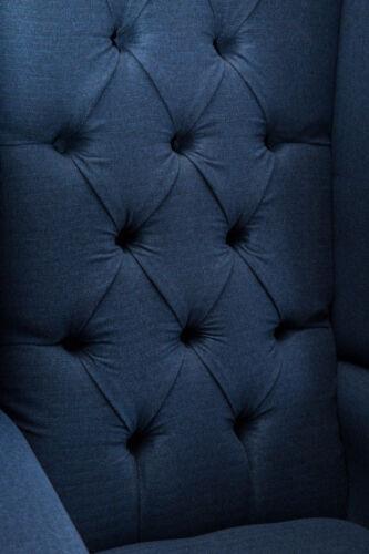HANDMADE NAVY BLUE HERRINGBONE WOOL CHESTERFIELD HIGH BACK, FABRIC WING CHAIR