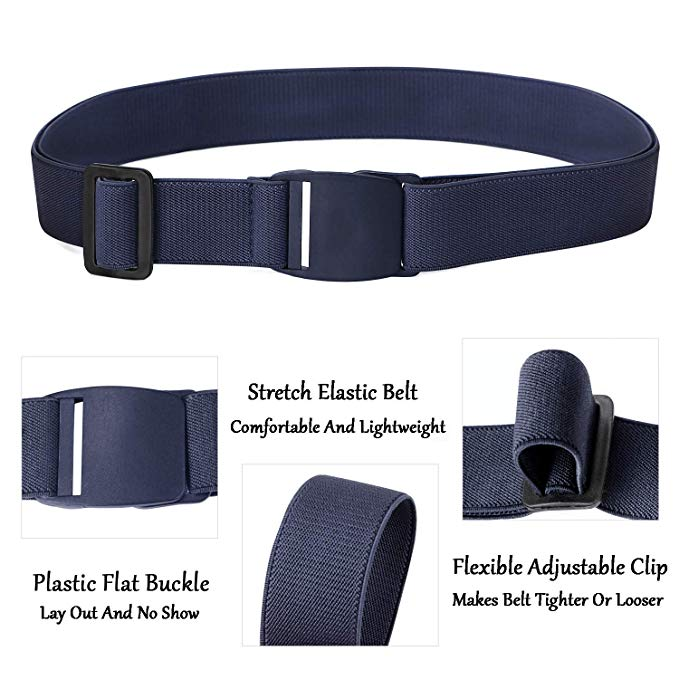No Show Women Stretch Belt Invisible Elastic Belt w Flat Buckle for Jeans Pants