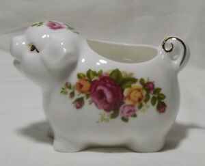 Cute Piggy Fine Bone China Cottage Rose Floral Pig Trinket Pot Ornament Ebay