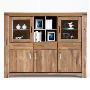 highboard kiroyal wildeiche massiv ge lt schrank vitrine eiche natur anrichte ebay. Black Bedroom Furniture Sets. Home Design Ideas