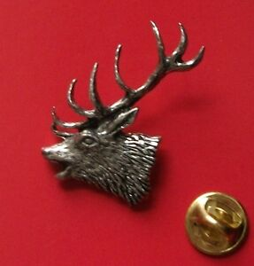 English Pewter STAGS Head Pin Badge Tie Pin Lapel Badge ref A21