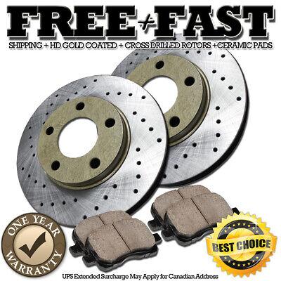 Fit 2003-2007 Honda Accord Rear Gold Drill Slot Brake Rotors+Ceramic Brake Pads
