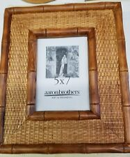 """Vintage Bamboo Rattan Honey Picture Frame ~ 5"""" X 7"""" ~ New / Never Used"""