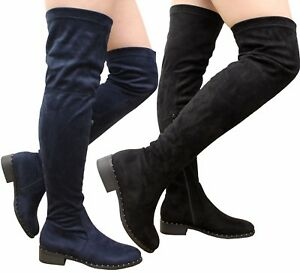 Womens Thigh Ladies Block Stud Over Heel The New Boots High Knee Low BC5qW