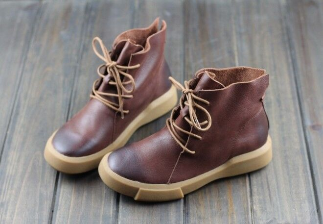 botas botas botas Zapatos para mujeres señoras De Cuero Con Cordones botas al Tobillo Suela Antideslizante Goma 2 Colors  Venta en línea de descuento de fábrica