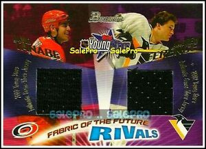 BOWMAN-2001-DAVID-TANABE-ANDREW-FERENCE-NHL-RARE-RIVALS-DUAL-GAME-JERSEY-250