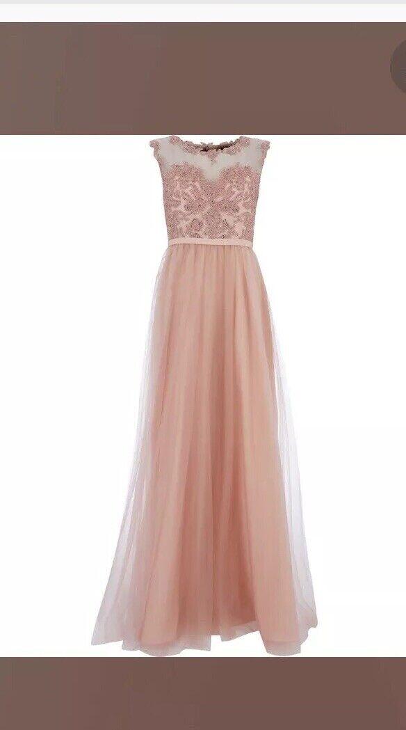 fe9355961b0 Mascara London Dusky Pink Diamante Embellished Prom Prom Prom Dress. Size  10. f53fac