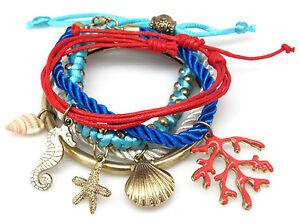Nautical-Beach-5-Cord-Charm-Bracelet-Red-Blue-Sea-Shell-Seahorse-Starfish