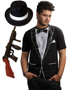 mens boys 1920s gangster tuxedo t shirt gun hat fancy dress outfit