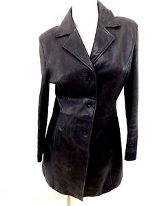 SALLY & JOHN NEW YORK WOMENS BLACK WEATHERED LEATHER INSULATED JACKET SIZE XL