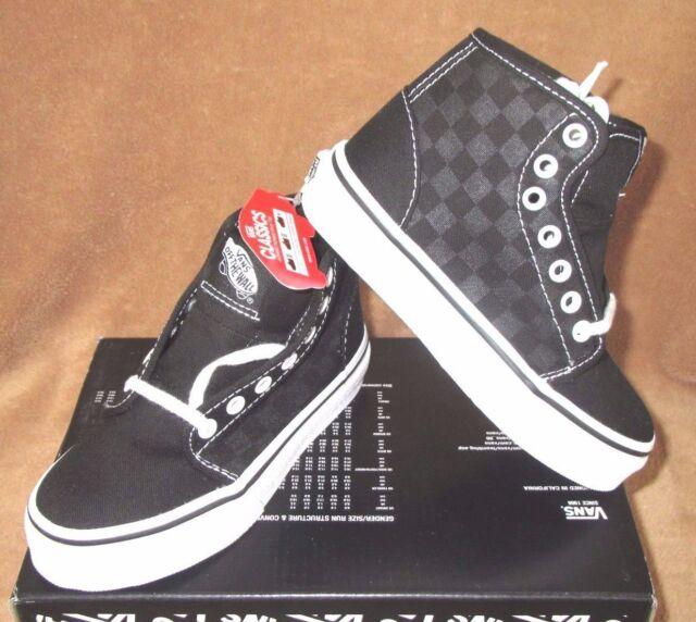 5a91531576ae VANS 106 Hi Skateboard Shoes Boys Sz 10.5 Black Checkerboard Canvas ...