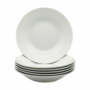 White-Soup-Pasta-Cereal-Bowls-Wide-Rimmed-230mm-9-034-x6