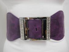 Ladies Waist Elastic Dark Purple Wide Belt W/ Rhinestones Square Buckle S M L
