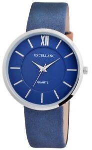 Excellanc-Damenuhr-Blau-Silber-Roemische-Ziffern-Analog-Kunst-Leder-X1900037002