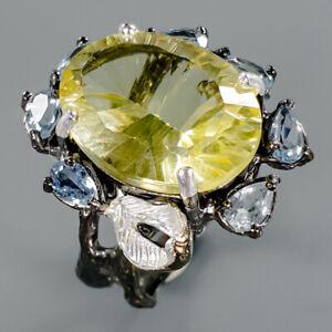 Handmade20ct-Natural-Lemon-Quartz-925-Sterling-Silver-Ring-Size-8-R86150
