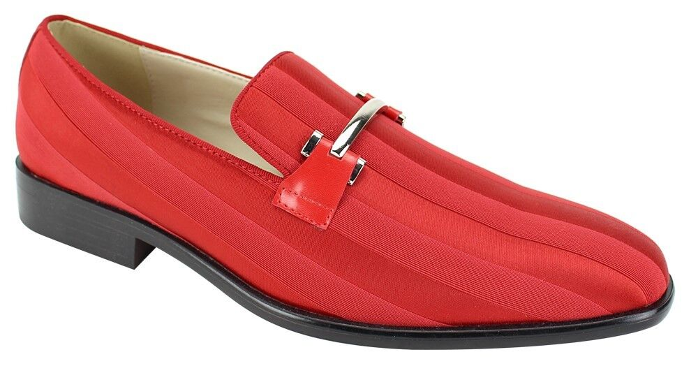 Men's Dress shoes Prom Wedding Satin Slip On Loafers Red Metal Bit Strap 6757