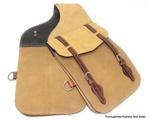 D-A-Brand-Buckskin-Colored-Roughout-Leather-Saddle-Bags-Horse-Tack-Equine
