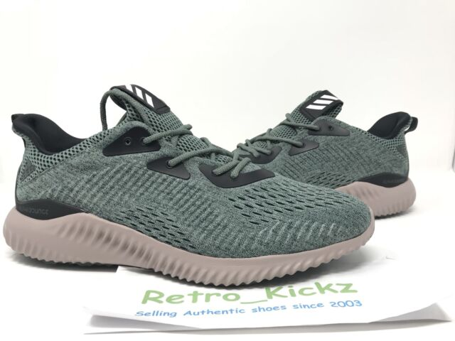 1f296a9e4 BB9042 ADIDAS ALPHA BOUNCE EM GREEN TAN BLACK RUNNING SHOES SIZE 11 MENS