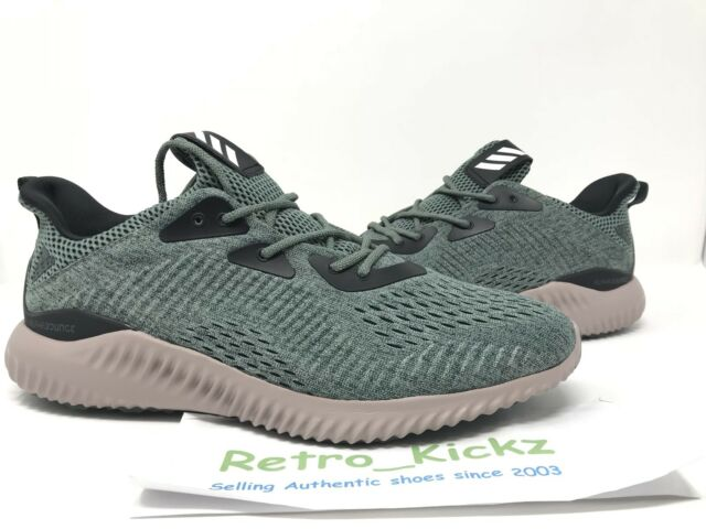 edcaa94b30f83 BB9042 ADIDAS ALPHA BOUNCE EM GREEN TAN BLACK RUNNING SHOES SIZE 11 MENS