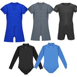 Mens-Bodysuit-Front-Zipper-Leotard-Jumpsuit-Wrestling-Singlet-Lingerie-Underwear