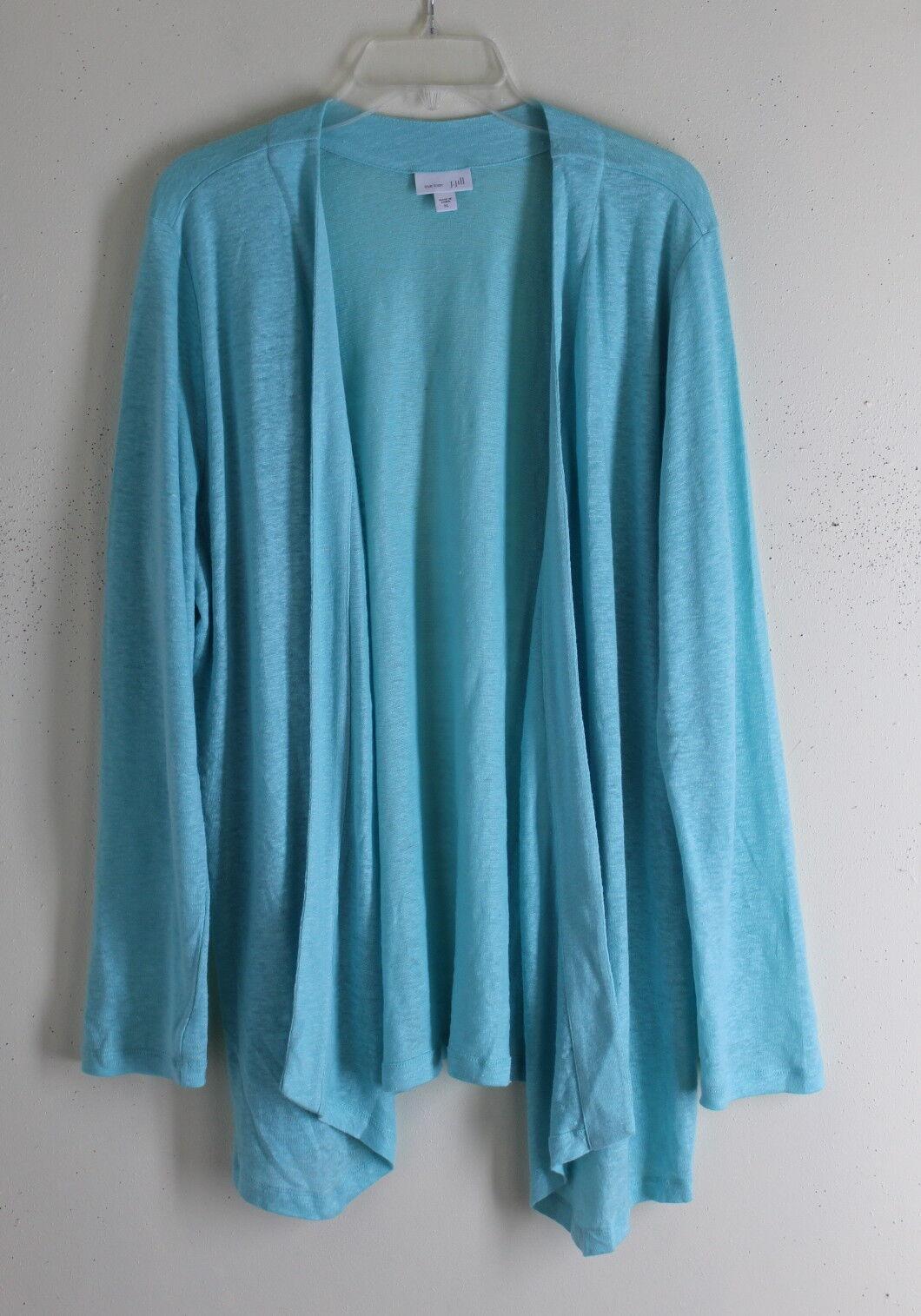 J.Jill -Sz XL Unusual Very Fine 100% Linen Knit Aqua Cardigan Sweater Lagenlook