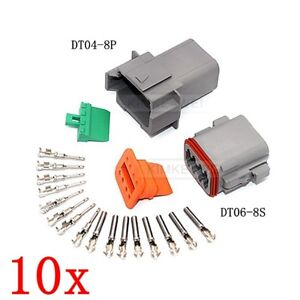 6cac2c8708f1d7 10x Deutsch DT04-8P DT06-8S Sealed Waterproof Electrical Connector ...