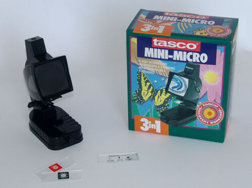 MICROSCOPIO TASCO 300 INGRANDIMENTI Con Luce a 3 Vie MONITOR